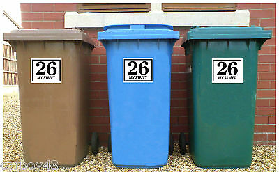 WHEELIE BIN NUMBERS HOUSE ROAD OR STREET NAME Stickers Decals 3 off 180mm