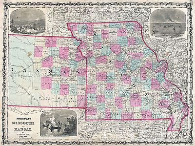 Geography Map Illustrated Antique Johnson Kansas Missouri Poster Print Bb4340A