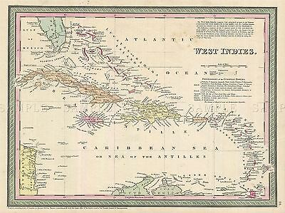 Geography Map Illustrated Antique West Indies Mitchell Poster Art Print Bb4510A