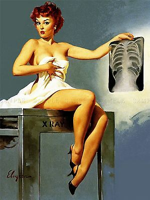 Painting Sexy Pin Up Xray Chest Rips Woman Doctor Art Poster Print Lv2870