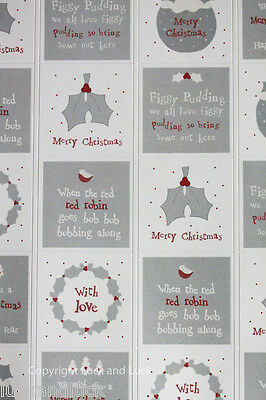 East of India Christmas Sticker Sheet Grey Christmas Pudding x 35 Craft / Gift