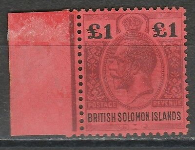 British Solomon Islands 1914 Kgv 1 Pound Top Value