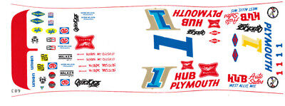 #1 Norm Nelson - Roger McCluskey Plymouth Superbird 1/25th - 1/24th Scale Decals