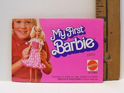 1982 My First Barbie Doll Fashion Booklet Book Mini Clothes Catalogue
