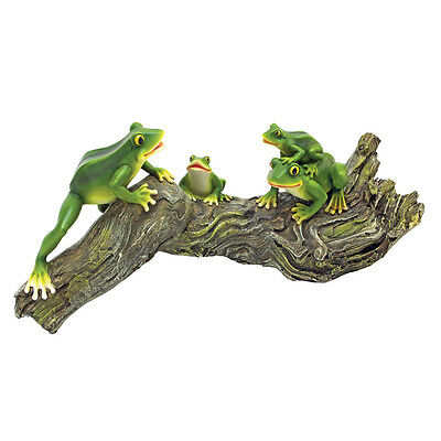 Green Tree Frogs on a Log Sculpture Adorable Pond Jumpers Statue