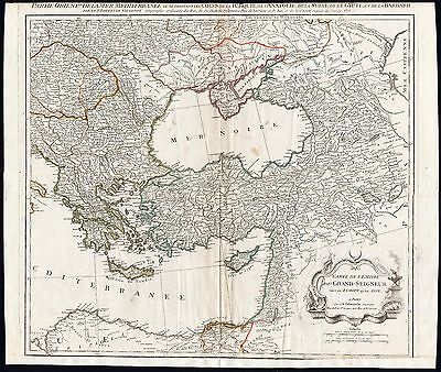 Antique Map-MEDITERRANEAN-TURKEY-GREECE-CYPRUS-EGYPT-Vaugondy-Delamarche-1793