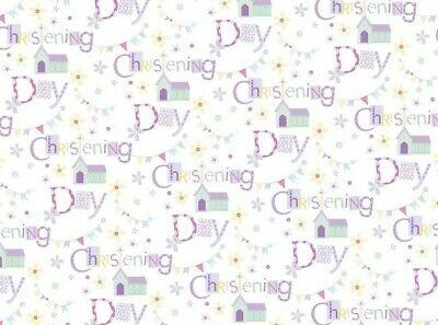 2 Sheets Unisex Christening Day Wrapping Paper & 1 Matching Gift Tag Boy or Girl
