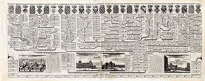 Large Antique Print-GENEALOGY-FRENCH KINGS-LOUVRE-VINCENNES-Chatelain-1732