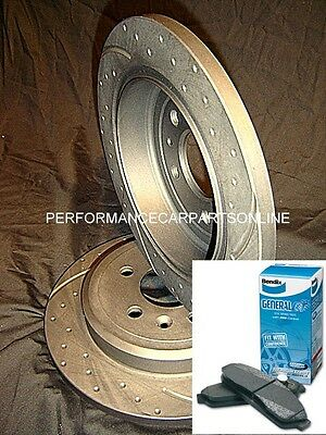 DRILLED & SLOTTED Ford BA BF FG REAR Disc brake Rotors & BENDIX pads PACKAGE