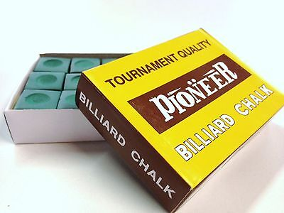 Pool Snooker Billiard Cue Tip Table Chalk *GREEN* 1 BOX of 12 blocks in the box