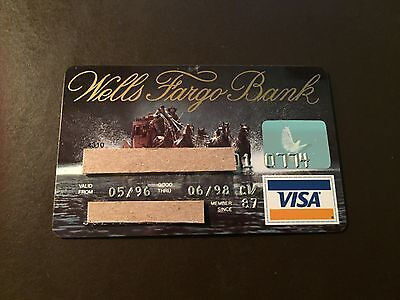 Wells Fargo Bank 1998 Vintage Collectors Visa Credit Card