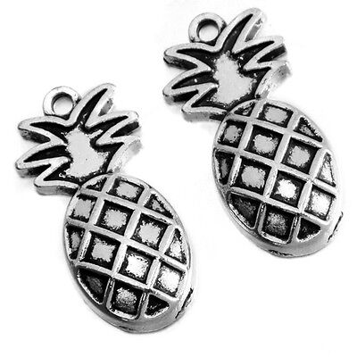 20pcs New Vintage Silver Fruit Pineapple Shape Charms Alloy Pendants Jewelry J
