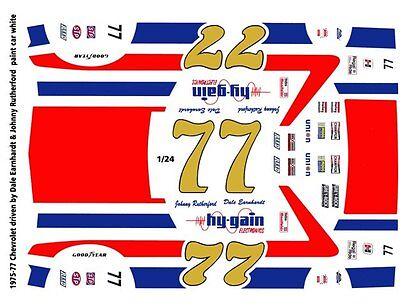 #77 Dale Earnhardt hygain Chevy 1/25th - 1/24th Scale  Decals Rutherford