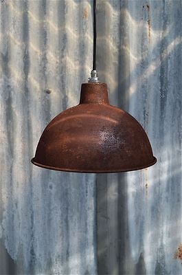 Rusty Steel Vintage Style Barn Lamp Workshop Ceiling Light Shade Rs2Sr4