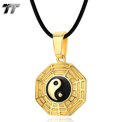 TTstyle Gold Stainless Steel Ying&Yang Pendant Necklace (NP292J)