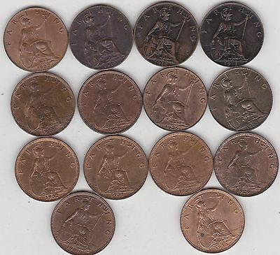 14 x GEORGE V FARTHINGS 1911 TO 1936 IN A HIGH GRADE