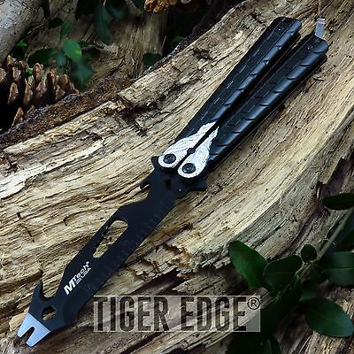 NEW! Mtech Black/Silver Practice Butterfly Balisong Multi Tool - NO BLADE