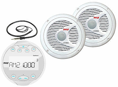 "6.5"" 150W Marine Speakers, Pyle Bluetooth USB Mp3 Round Radio & Marine Antenna"