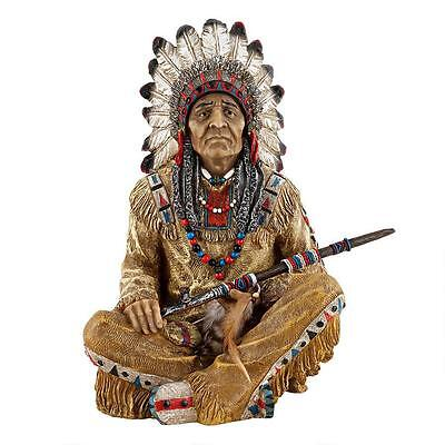 American Indian Chief Holding Peace Pipe Western Sculpture Statue