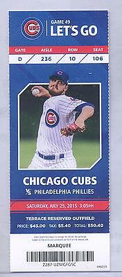 Chicago Cubs Philadelphia Phillies Full Ticket 7/25/15 Cole Hamels No-Hitter