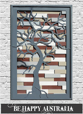 MODERN WOODEN TREE ART WITH MIXED MEDIA SIZE H=100CM x W=60CM x D=4CM