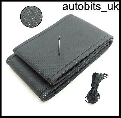 Black Diy Perforated Pu Leather Steering Wheel Cover Size M With Needle & Tread
