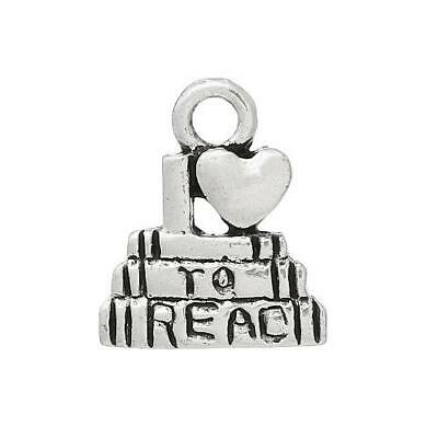 Packet 8 x Antique Silver Tibetan 14mm I Love To Read Charm/Pendant ZX12520
