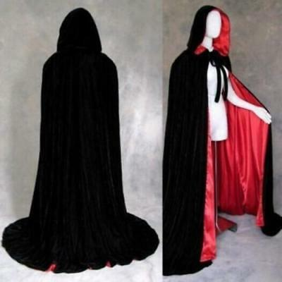 Adult Cloak Hooded Satin Fabric Cape Medieval Halloween Costume Cosply Dress LG