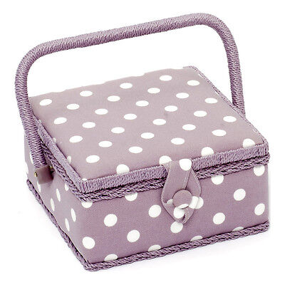 NEW | HobbyGift MRS/121 | Small Sewing Basket Mauve Spot Design | FREE SHIPPING