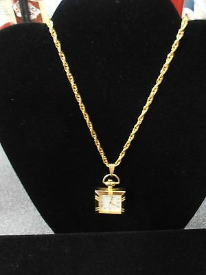 EUC* GOLD-TONE WATCH PENDANT & NECKLACE Square Bezel Gold-Tone Chain New Battery