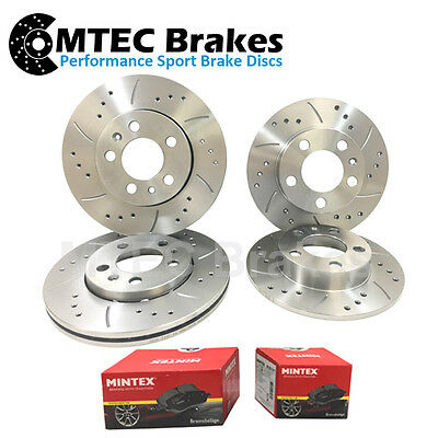Ford Mondeo 07-12 mk4 Front Rear Brake Discs Drilled & Grooved With Mintex Pads