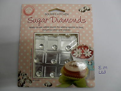 Squires Kitchen 16 Sugar Wedding Cup Cake Edible Diamonds 1CM -   **BBE August**