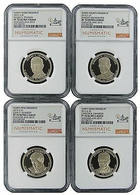 2015 S Presidential Dollar 4 Coin Set NGC PF70 Ultra Cameo Chicago ANA Releases