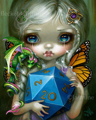 Jasmine Becket-Griffith art print d20 die dragon con SIGNED 20 Sided Dice Fairy