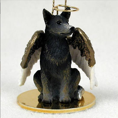 Australian Cattle Dog Ornament Angel Figurine Hand Painted Blue