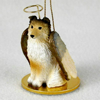 Sheltie Dog Figurine Ornament Angel Statue Hand Painted Sable