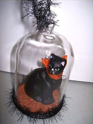Halloween Sitting Black Cat Figure with Orange Fabric Bow in a Glass Dome Orn.