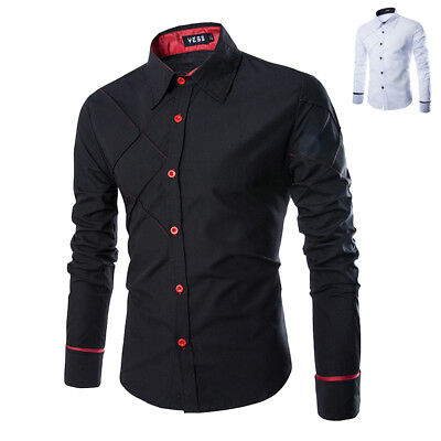 Elegant Mens Casual Slim Fit Long Sleeve Formal Boy's Tops Dress Shirts Cotton