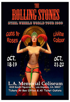 Mick Jagger & The Rolling Stones & GNR at Los Angeles Concert Poster 1989 13x19