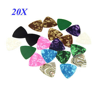 20pcs Multicolor Celluloid Acoustic Electric Bass Guitar Picks Plectrums 0.46mm