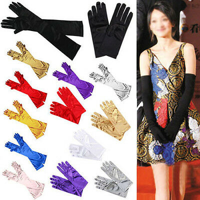 Ladies Long/Short Satin Finger Gloves Party Dress Prom Evening Wedding Brisal