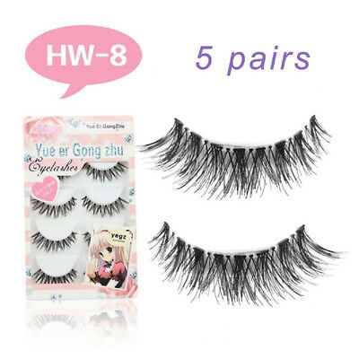 Natural Long Black Handmade 5 Pairs Thick Makeup Fake Eyelashes False Lashes