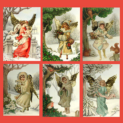 36 Decoupage Victorian Angel Christmas Cards with Gold Embossed Wings XC0048