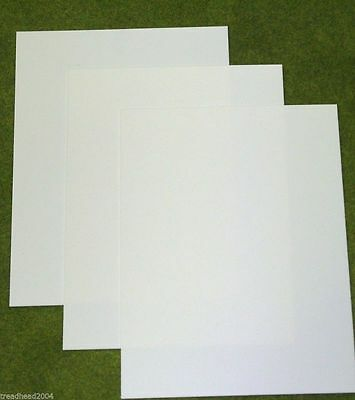 3 sheets of WHITE Plasticard 30/000 Terrain & Scenery