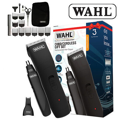 WAHL 9655-917 Mens Rechargeable Hair Beard Clipper Kit Cord/Cordless Trimmer Set