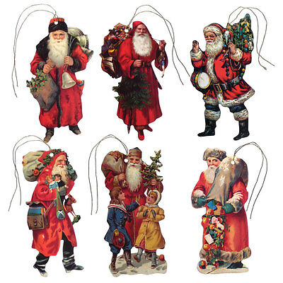 150 Vintage Father Christmas Die-cut Gift Tags with Gold Metallic Cord XT0027