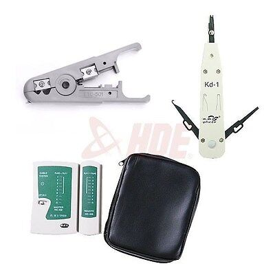 Cable Tester + STP/UTP Stripper + Impact Punch Down RJ45 RJ11 Network Tool Kit