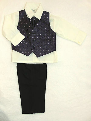 Baby Boys 4 Piece Suit Wedding Christening Page Boy Formal Party Age 3-6 Months
