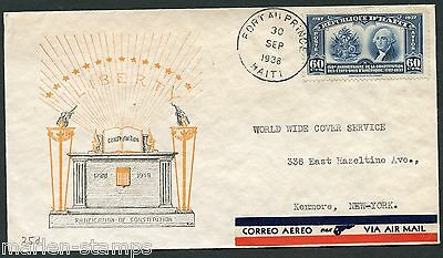 Haiti Port Au Prince 9/30/38 150Th Us Constitution Aniversary Cover To Kenmore