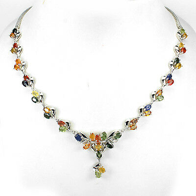 Sterling Silver 925 Genuine Natural Multi Coloured Sapphire Necklace 20.5 Inch